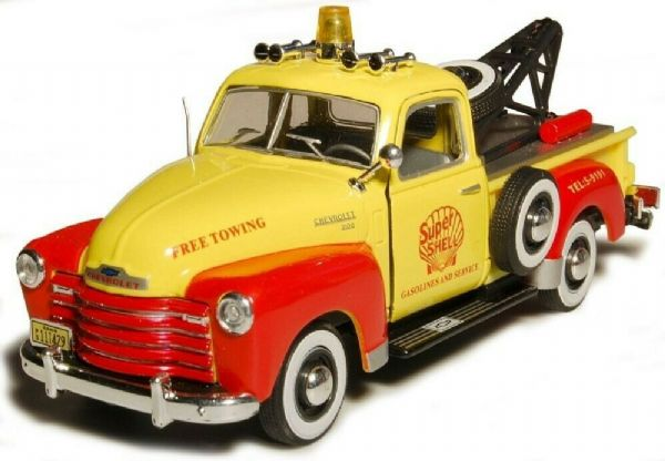 Cararama 1/43 O Scale Chevrolet C1300 Breakdown tow truck yellow red Shell